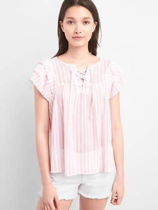 Gap Ruffle Short Sleeve Stripe Smock Top