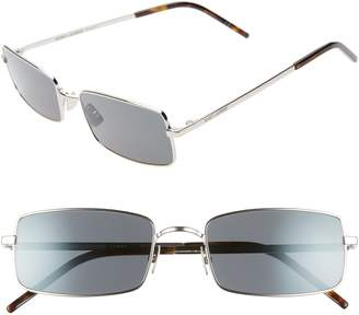 Saint Laurent 56mm Polarized Rectangular Metal Sunglasses