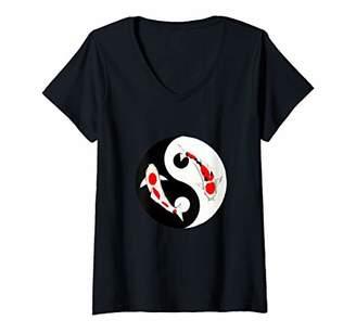 Yin & Yang Womens Yin Yang Koi Fish butterfly Shirt Nishikigoi Gift V-Neck T-Shirt