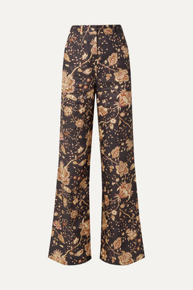 Zimmermann Veneto Printed Linen Flared Pants - Chocolate
