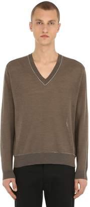 V Neck Linen Blend Knit Sweater