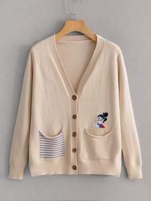 Shein Striped Pocket Figure Embroidery Cardigan