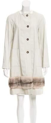 Marni Collarless Fur-Trimmed Coat