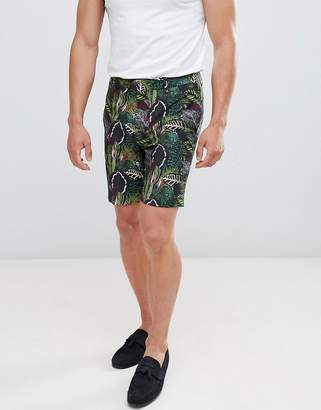Asos DESIGN suit shorts in green botanical print linen look