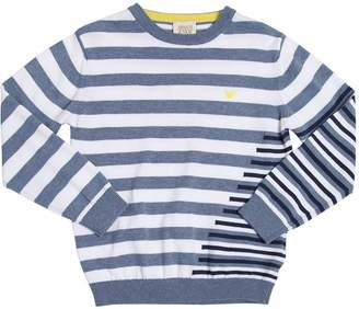 Armani Junior Striped Cotton Knit Sweater