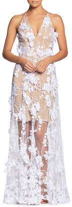 Dress the Population Sidney Floral-Appliqué Illusion-Skirt Gown