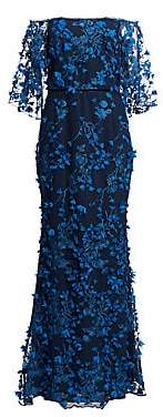 Marchesa Women's Embroidered 3D Floral Lace Gown