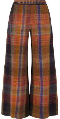 Missoni Checked Crochet-knit Wide-leg Pants - Brown