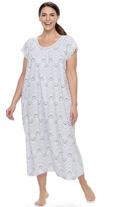 Croft & Barrow Plus Size Printed Lace Trim Nightgown