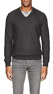 Barneys New York Men's Textured-Knit Cotton V-Neck Sweater - Charcoal