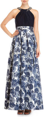 Eliza J Jacquard Floral Maxi Dress