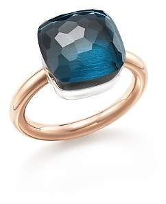 Pomellato Nudo Maxi Ring with London Blue Topaz in 18K Rose and White Gold