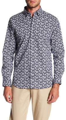 14th & Union Floral Long Sleeve Stretch Trim Fit Shirt