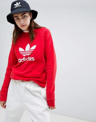 adidas Trefoil Crew Neck Sweatshirt In Red