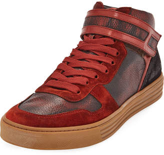 Hogan Men's Antiqued Leather Sneakers