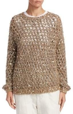 Brunello Cucinelli Open Weave Sequin Sweater