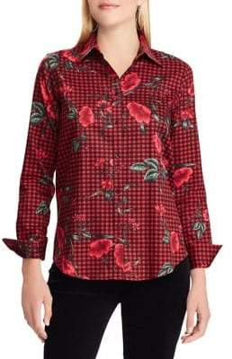 Chaps Petite No-Iron Slim-Fit Printed Shirt