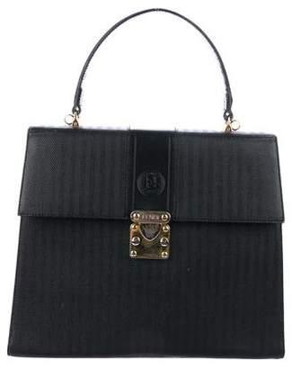 Fendi Leather Pequin Satchel