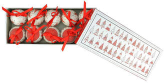 Asstd National Brand 10-Piece Red and White Decoupage Shatterproof Christmas Tree Ball Ornament Set 1.75