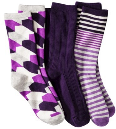 Merona Women's 3-Pack Preppy Socks - Assorted Colors/Patterns One Size Fits Most