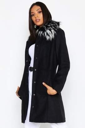 boohoo Tall Detachable Faux Fur Collar Wool Look Coat