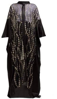 Haider Ackermann Floral Embroidered Silk Blend Kimono - Womens - Black Gold