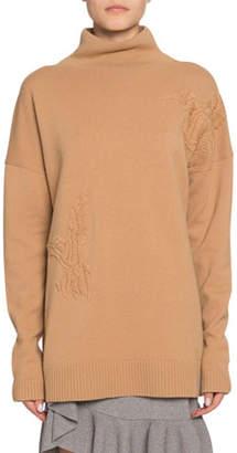 Altuzarra Wool-Cashmere Bird-Embroidered Turtleneck Sweater