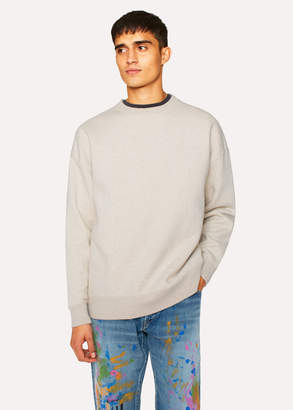 Paul Smith Men's Ecru Marl Red Ear Sweatshirt With Grey Trims