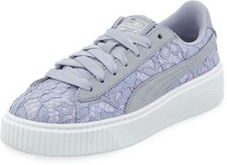 Puma Leather & Lace Low-Top Sneakers, Gray/Blue