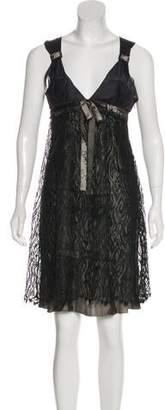 Nina Ricci Lace-Accented Sleeveless Knee-Length Dress