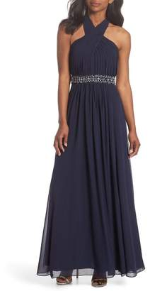 Eliza J Halter Pleated Cross Neck Gown (Regular & Petite)