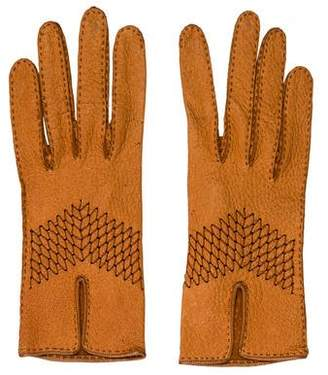 Hermes Leather Woven Gloves