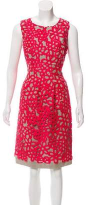 Lela Rose Guipure Lace-Accented Sleeveless Dress