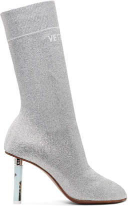 Vetements SSENSE Exclusive Silver Lurex Lighter Sock Boots