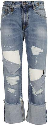R 13 Cut-out Cropped Jeans