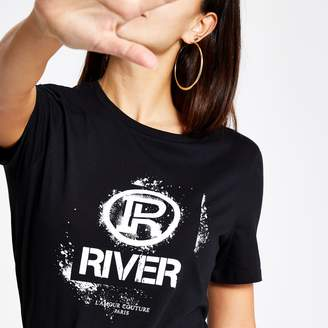 River Island Womens Black RI graffiti print fitted T-shirt