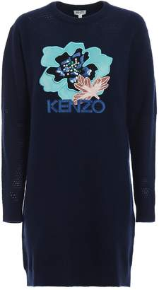 Kenzo Embroidered Hibiscus Sweater Dress