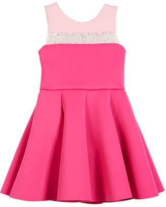 Zoe Colorblock 8-Panel Lace-Inset Swing Dress, Size 4-6X