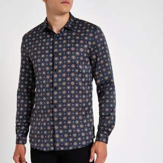 River Island Navy geo print satin long sleeve shirt