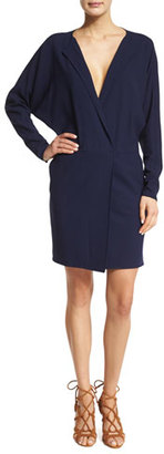 Ralph Lauren Collection Long-Sleeve V-Neck Dress, Dark Navy $1,490 thestylecure.com