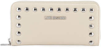 Love Moschino Studded Logo Faux-Leather Zip-Around Wallet