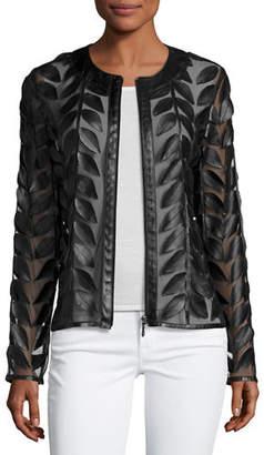 Neiman Marcus Leather Leaf & Mesh Combo Jacket