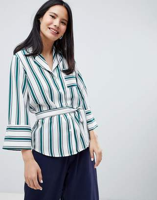 Monki Wrap Belted Stripe Blouse