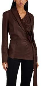 Rick Owens Women's Leather Wrap Top - Wine