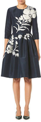 Carolina Herrera Elbow-Sleeve Floral-Embroidered Fit-and-Flare Cocktail Dress