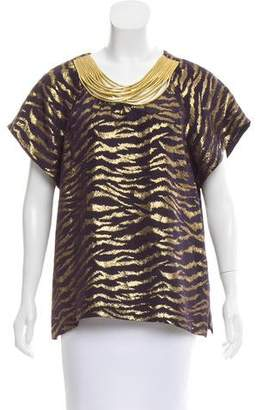 3.1 Phillip Lim Metallic Short Sleeve Top