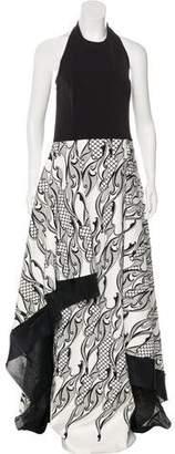 Wes Gordon Printed Asymmetrical Gown