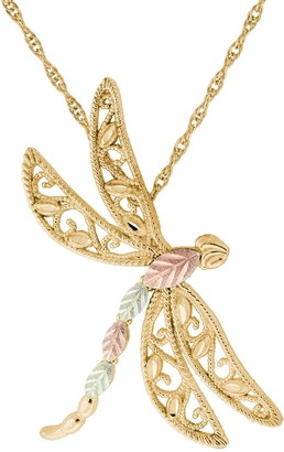 Black Hills Gold Tri-Tone Dragonfly Pendant Necklace