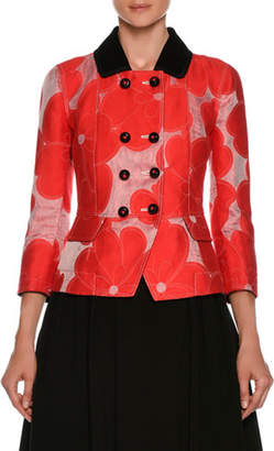 Giorgio Armani Double-Breasted Floral-Jacquard Cotton-Silk Jacket