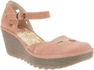 Fly London Leather Ankle Strap Wedges - Yuna